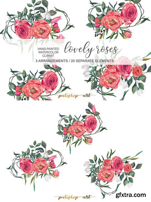 Red Roses Bouquets Elements