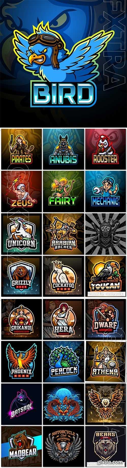 Mascot logo design set premium vector vol 20