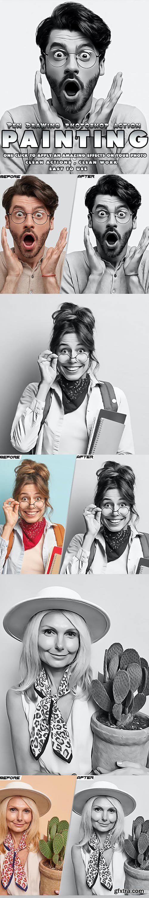 GraphicRiver - Pen Drawing Painting B&W Photoshop Action 33962546