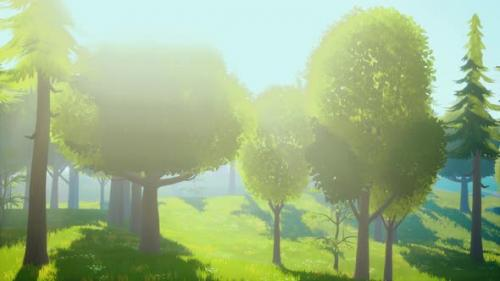 Videohive - Cartoon Green Forest Landscape with Trees and Flowers - 34136936 - 34136936
