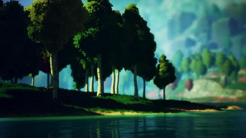 Videohive - Cartoon Green Forest Landscape with Trees and Lake - 34136939 - 34136939