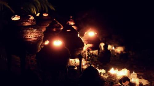 Videohive - Golden Altar with Candles at Night - 34136949 - 34136949