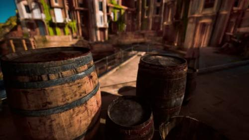 Videohive - Old Wooden Wine Barrels in a Sea Town Port - 34136990 - 34136990