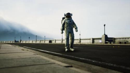 Videohive - Astronaut in Space Suit on the Road Bridge - 34137009 - 34137009