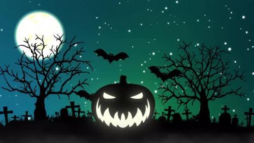 Videohive - Halloween Night Background. Pumpkin and flying Bats Halloween Night festival - 34145609 - 34145609