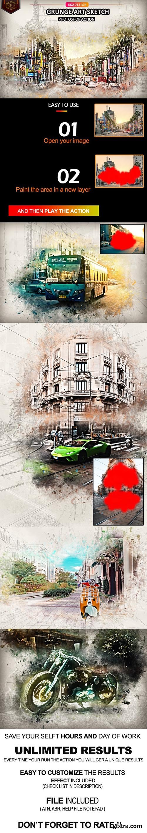 GraphicRiver - Grunge Art Sketch Photosop Action 32980106