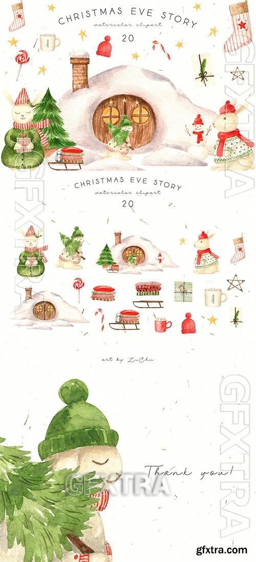 Watercolor Christmas Rabbits and House Clipart CV8WJJV
