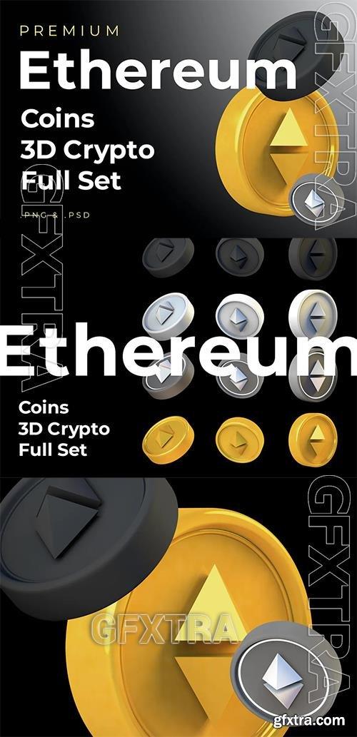 Ethereum 3d Premium Crypto DeFi Coins Set LXXLETF