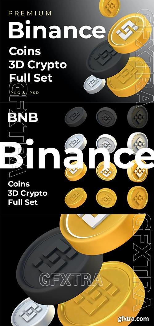 Binance BNB 3d Premium Crypto DeFi Coins Set GUVAQB3