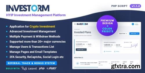 CodeCanyon - Investorm v1.1.3 - Advanced HYIP Investment Management Platform - 32431844 - NULLED