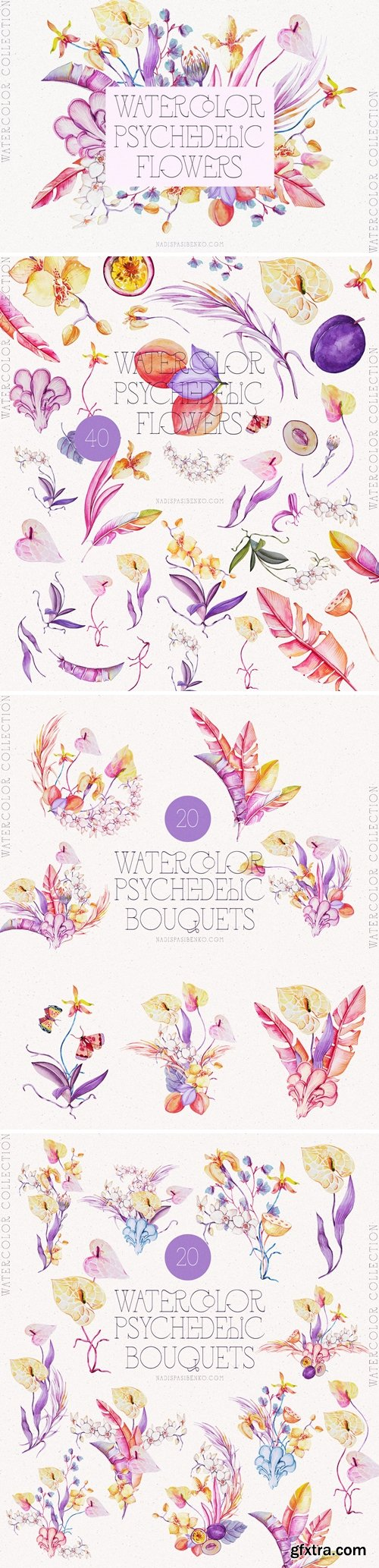 Watercolor Psychedelic Flowers