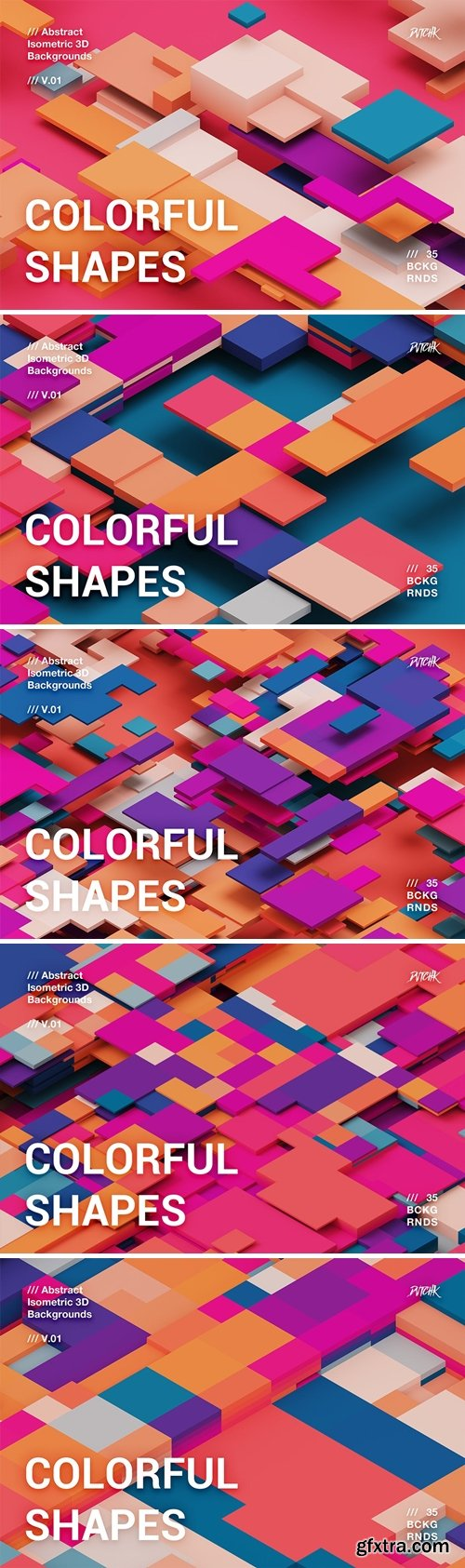 Colorful Shapes   3D Isometric Backgrounds   V01