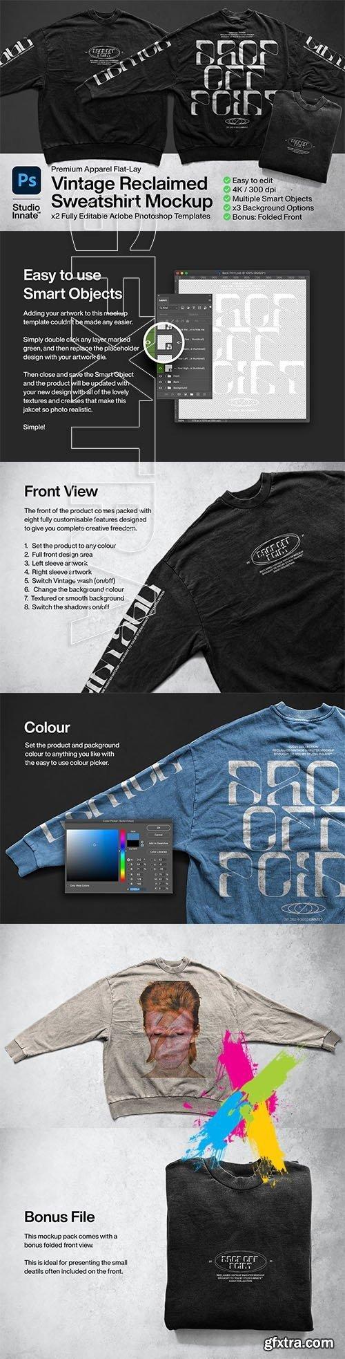 CreativeMarket - Vintage Reclaimed Sweatshirt Mockup 5755542