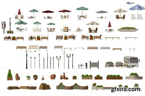 Modern outdoor chair, umbrella, table, chair, street lamp, potted plant 3D models