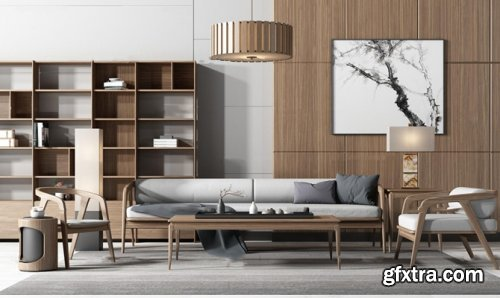 Nordic solid wood sofa / lounge chair / tea table decoration cabinet combination 3D model