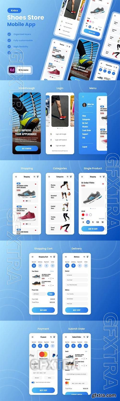 Knic - Shoes & Sneakers Store Mobile App UI Kit XV7TBTD