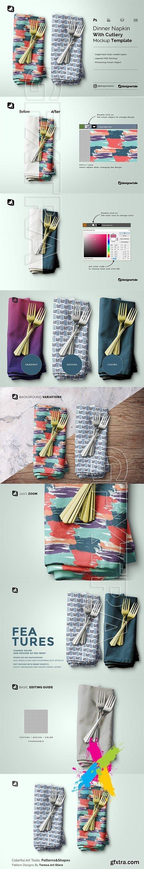 CreativeMarket - Dinner Napkin With Cutlery Mockup 5183051