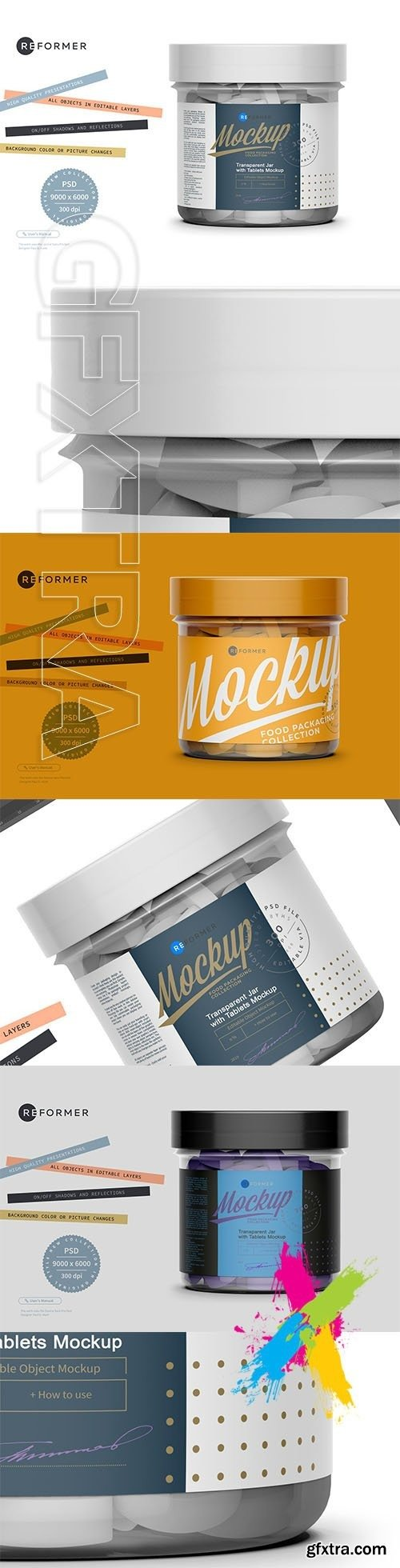 CreativeMarket - Transparent Jar with Tablets Mockup 5612998