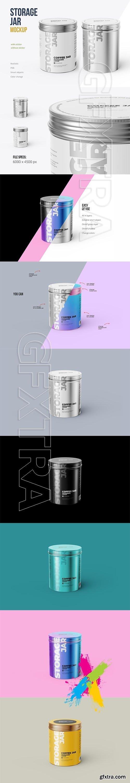 CreativeMarket - Metallic Storage Jar Angle view 5517228
