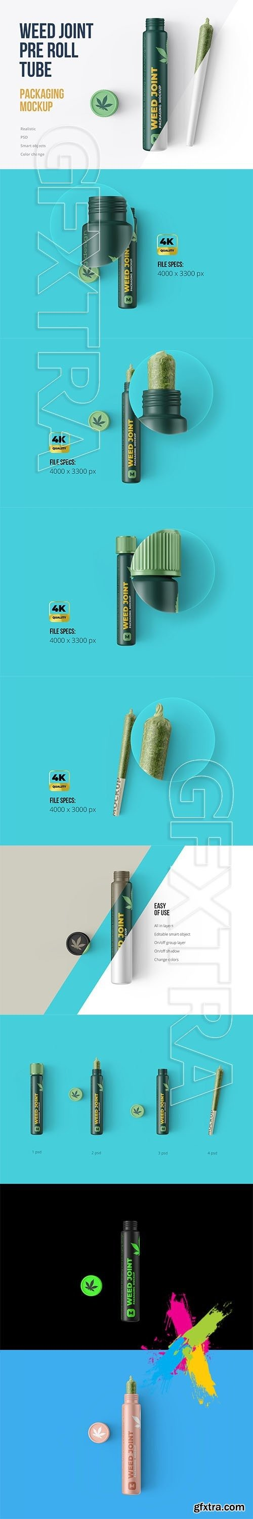 CreativeMarket - Weed Joint Pre-Roll Tubes 4 PSD 4975262