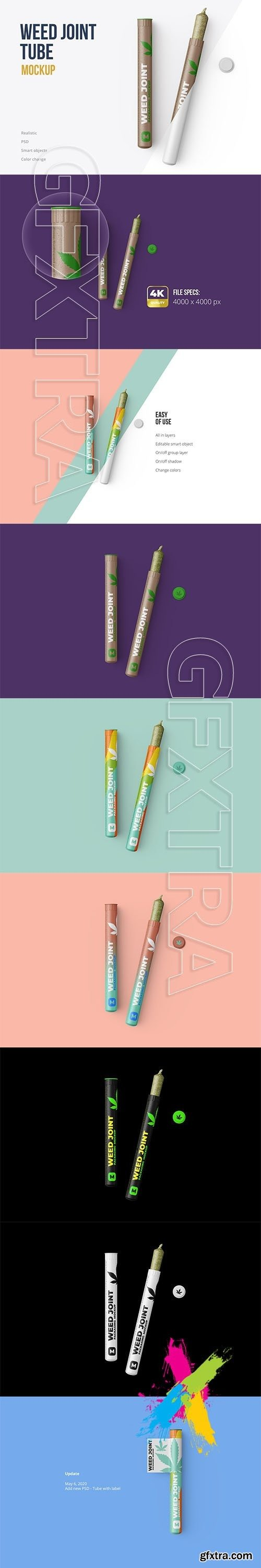 CreativeMarket - Weed Joint Pre-Roll Tubes Mockup 4834895