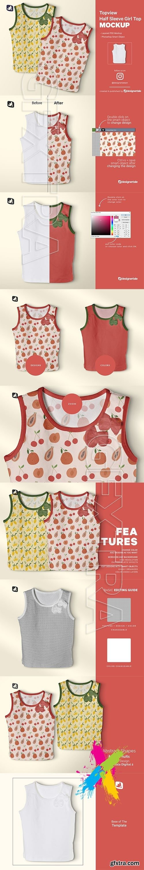 CreativeMarket - Topview Half Sleeve Girl Top Mockup 5162087