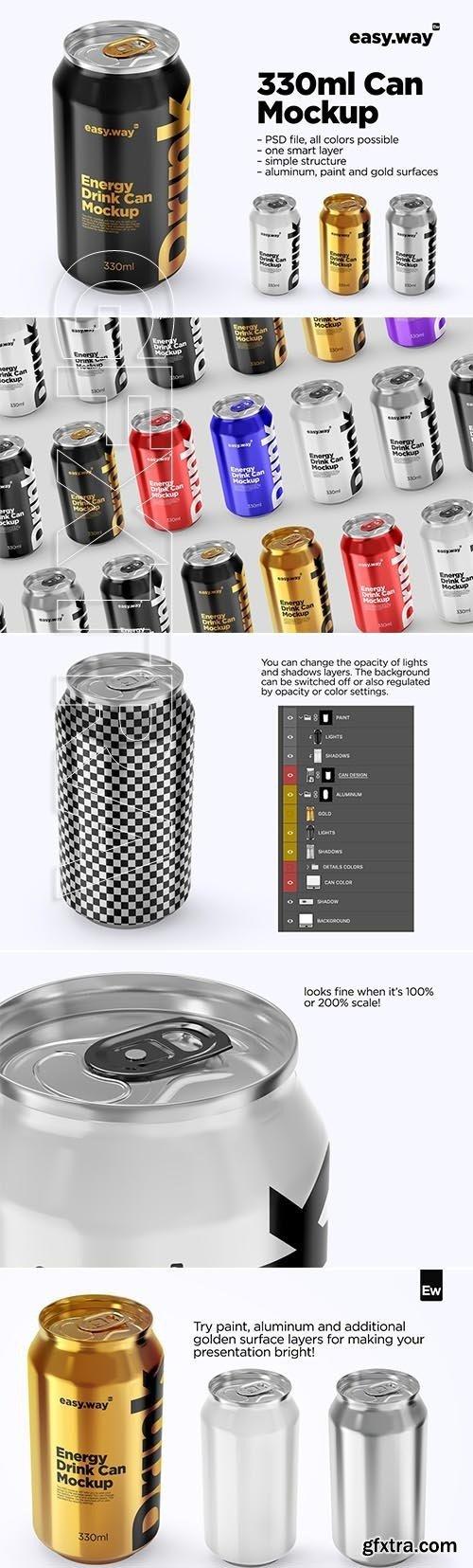 CreativeMarket - 330ml Aluminum Can PSD Mockup 5754579