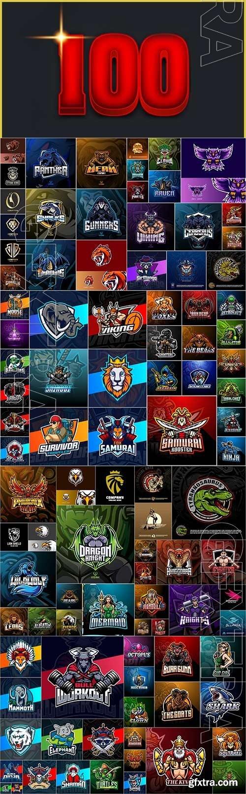 100 Bundle mascot logo vector design vol 1