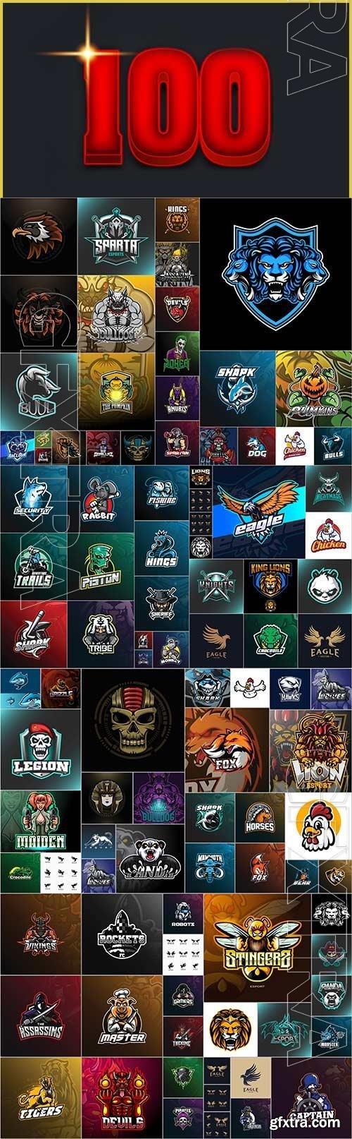 100 Bundle mascot logo vector design vol 3