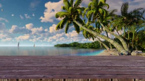 Videohive - Empty wooden planks with blur beach on background 4K - 34228741 - 34228741