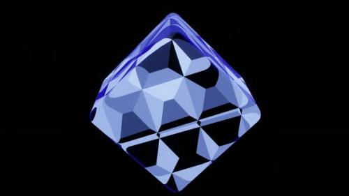Videohive - Fantastic Blue Cube on a Black Background - 34228766 - 34228766