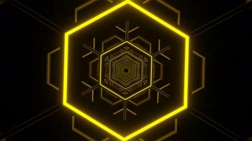 Videohive - VJ Loop Flashing Hexagon Neon - 34228772 - 34228772