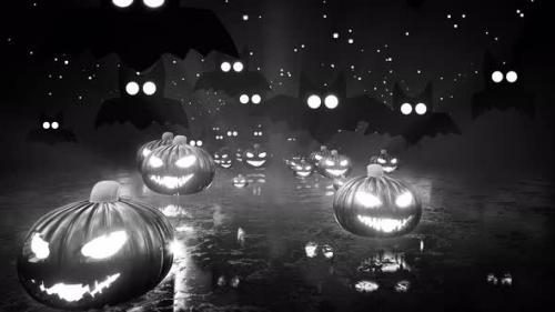 Videohive - Halloween Jack Lanterns And Bats Dark Black And White Background 4k - 34228923 - 34228923
