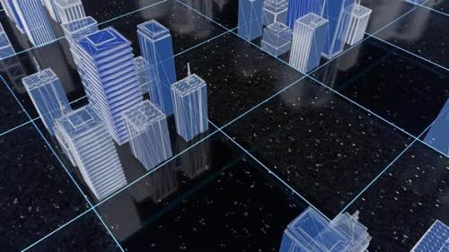 Videohive - Bright beautiful neon wireframe of abstract digital city - 34229987 - 34229987
