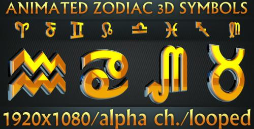 Videohive - Zodiac 3D Symbols Pack - 1473023 - 1473023