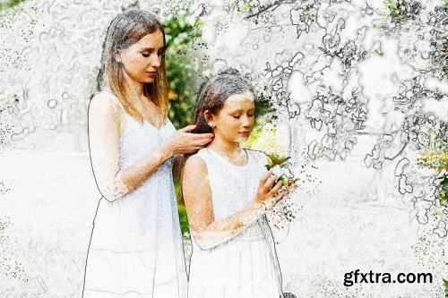 CreativeMarket - Watercolor Sketch Photoshop Action 6317739