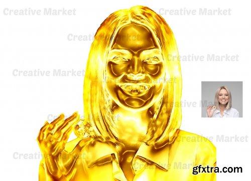 CreativeMarket - Gold Statue Photoshop Action 6550350
