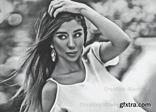 CreativeMarket - Art Black & White Photoshop Action 6563954
