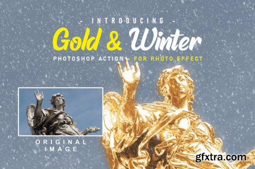 CreativeMarket - Gold And Snow Action // Winter 5623902