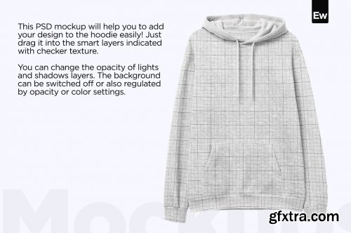 CreativeMarket - Heather Hoodie Front View PSD Mockup 6160806