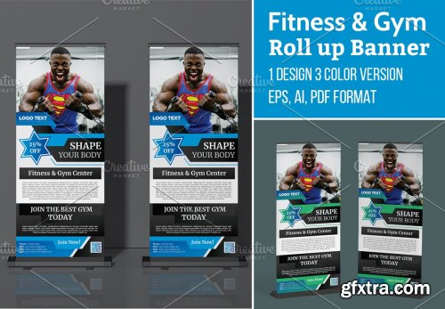 CreativeMarket - Fitness Gym Roll up Banner Template 5629674