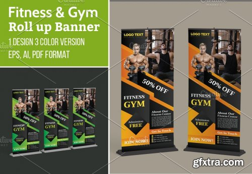 CreativeMarket - Gym Fitness Advertising Roll up 5629669