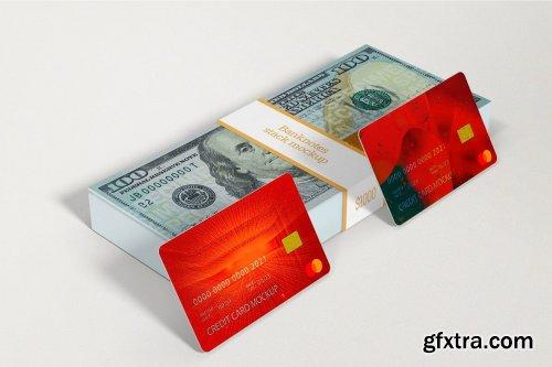 Credit Card With Banknotes Stack Mockups