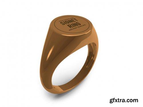 Golden Signet Ring Mockup Template Set