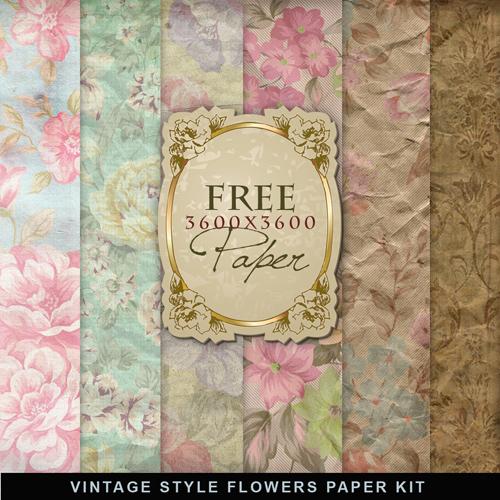 Vintage Style Flowers Paper Kit » GFxtra