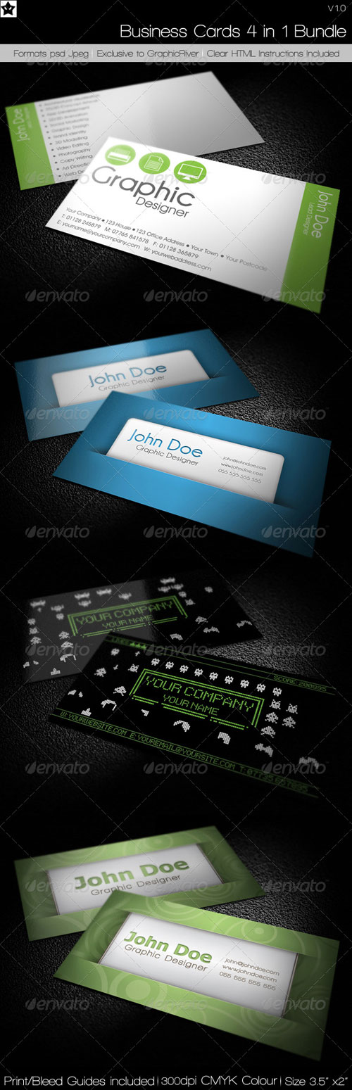 Business cards 4 in 1 Bundle