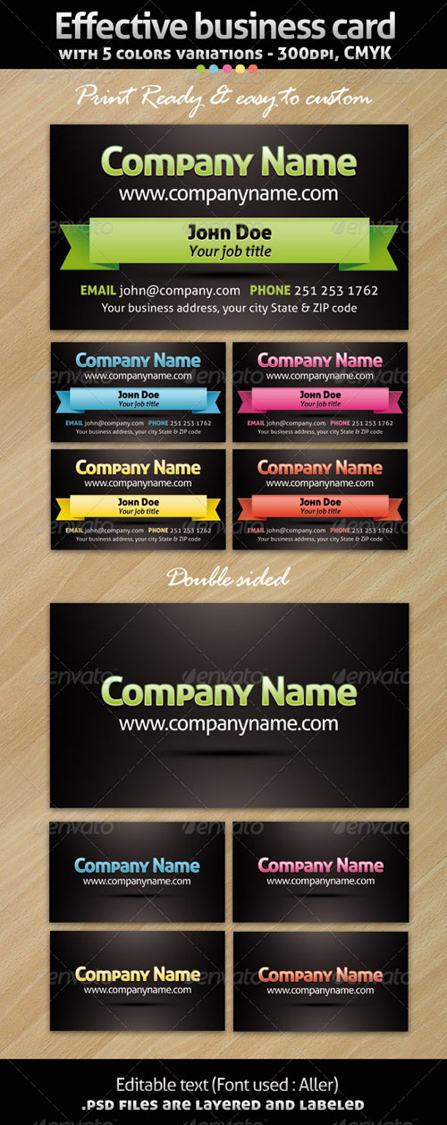 Effective business card with 5 variations