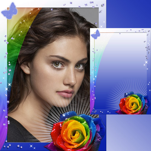 Frame for Photo - Rose - Seven colors of the rainbow