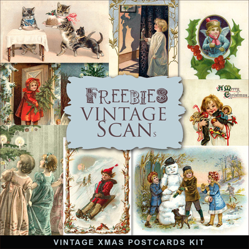 Scrap-kit - Vintage X-mas Postcards #6
