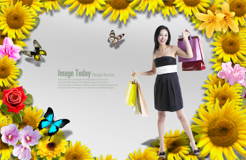 Fashion shopping posters PSD layered material
